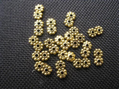 15 Metallperlen Zwischenteile goldfarbig 7x4mm Perlen neu Beads 10563