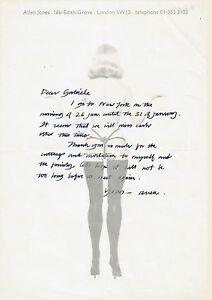 Allen Jones Lettre Autographe Signée Sur Papier Pop Art érotique Ebay