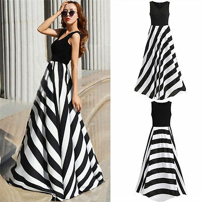 Womens Career Chiffon Stripe Evening Cocktail Party Long Maxi Dress Fashion