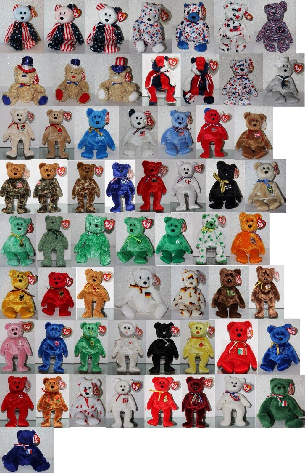 Ty Beanie Baby Beanies (Stuffed Toy) Teddy Bear Select