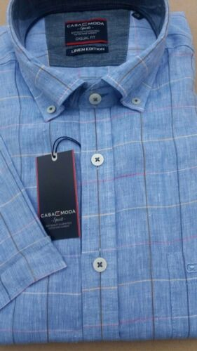 Casa Moda en lin bleu à manches courtes chemise 2XL 3073516 2xl 3XL4XL5XL6XL 7XL