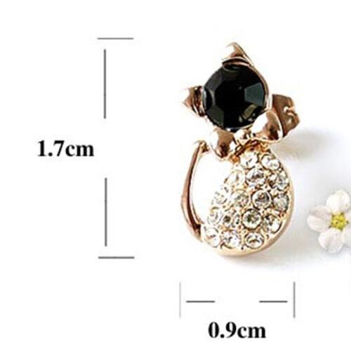 Kitten Stud Earrings Crystal Rhinestone Gift Wedding Birthday Women/'s Sweet SU
