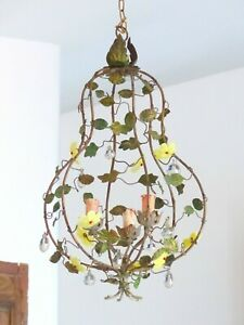 1920-RARE-French-Tole-Opaline-Flowers-Pendants-Chandelier-Cage-3-Lights