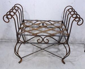 Image Is Loading Wrought Iron Curl Arm Vanity Bench Solid Steel