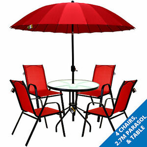 Image Is Loading Marko Outdoor Red Furniture Set Round Gl Table