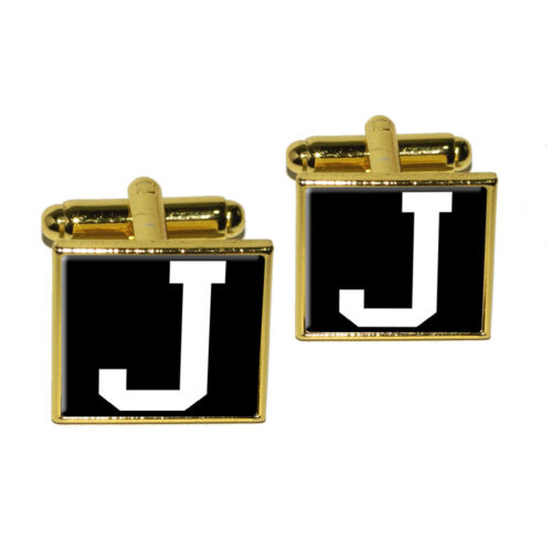 Letter J Initial Black White Square Cufflink Set
