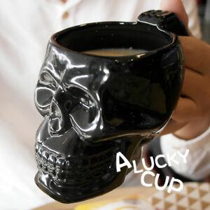 White Skull Mug for Lovers Ceramic Coffee Tea Milk Drink Mugs Cup Gift Black