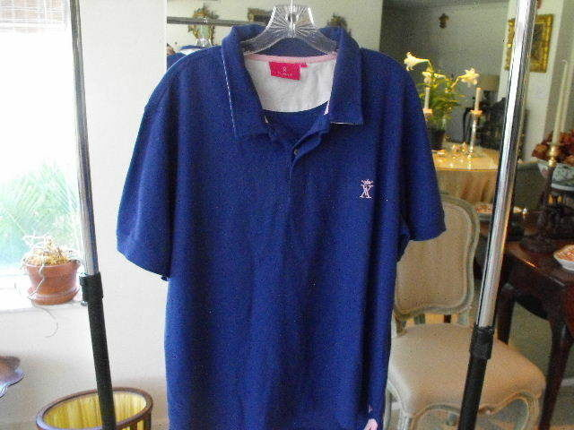 Sensational VISCOMTE ARTHUR 100% Pima Cotton bluee Polo Shirt w Pink Trim XXL