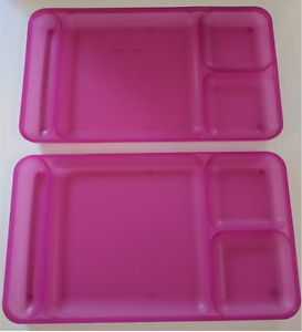 Image Is Loading Tupperware Divided Dining Trays 2pc Impressions Plates Set