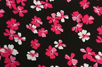 Viscose 1905 Black//Cerise Printed Dress Fabric 150 cm wide @ £5.99 pm FREE P /& P