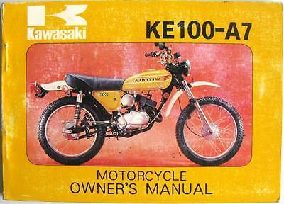 KAWASAKI KE100-A7 - Motorcycle Owner's Handbook - Sep 1977 - #99920-1005-02