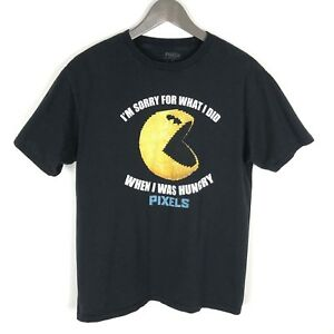 Pixels-the-Movie-Licensed-PAC-MAN-T-shirt-Size-XL-Youth-Black