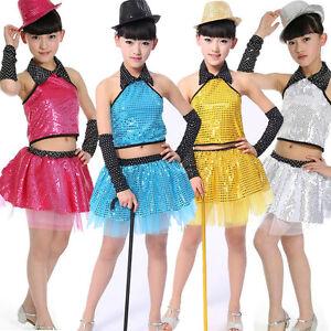 48619c67b877 Details about Sequined Childrens Dancawear TUTU dress kids Modern Jazz Hip  Hop Dance Costumes