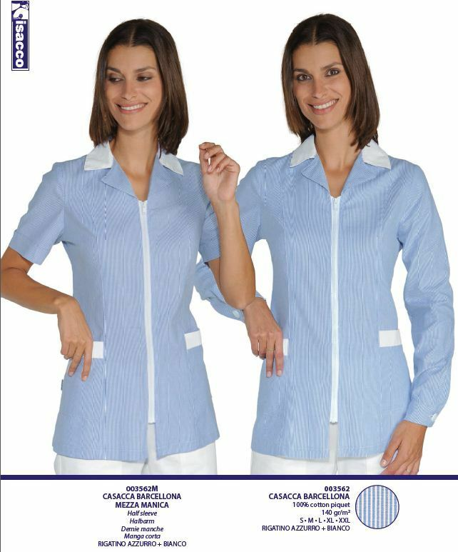 LARGE LOOSE SHIRT BARCELONA NURSE blueE ZIP WOMAN BEAUTICIAN ISACCO COTTON PIQUE