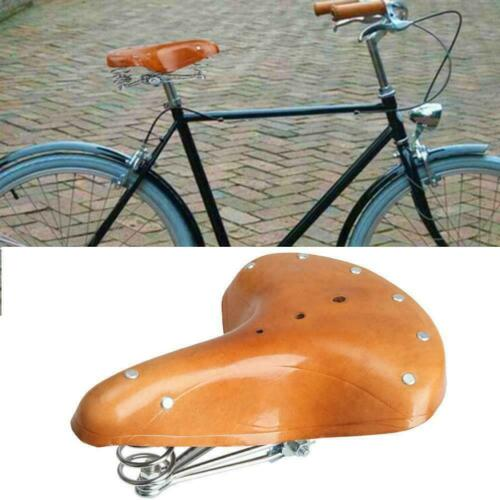 Retro Vintage Leather Bicycle Saddle Damping Classic Parts Seat Cycling Cus B9G1