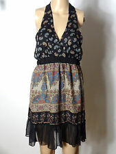 Kleid Gr. 40 schwarz-beige Babydoll Neckholder Blümchen Mini Kleid/Tunika