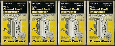 PowerWorks GFI 15A 125V Duplex Receptacle Outlet White With Plate