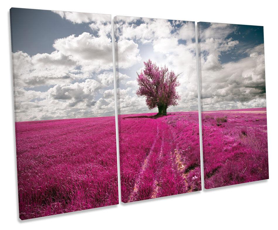 Paisaje Paisaje Paisaje púrpura árbol Floral agudos LONA parojo arte Foto Cuadro Enmarcado 7c4cff
