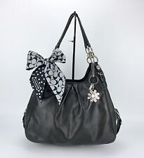 Coach 15742 Madison Maggie Black Leather Silver Hardware Bag Purse W/ New Scarf