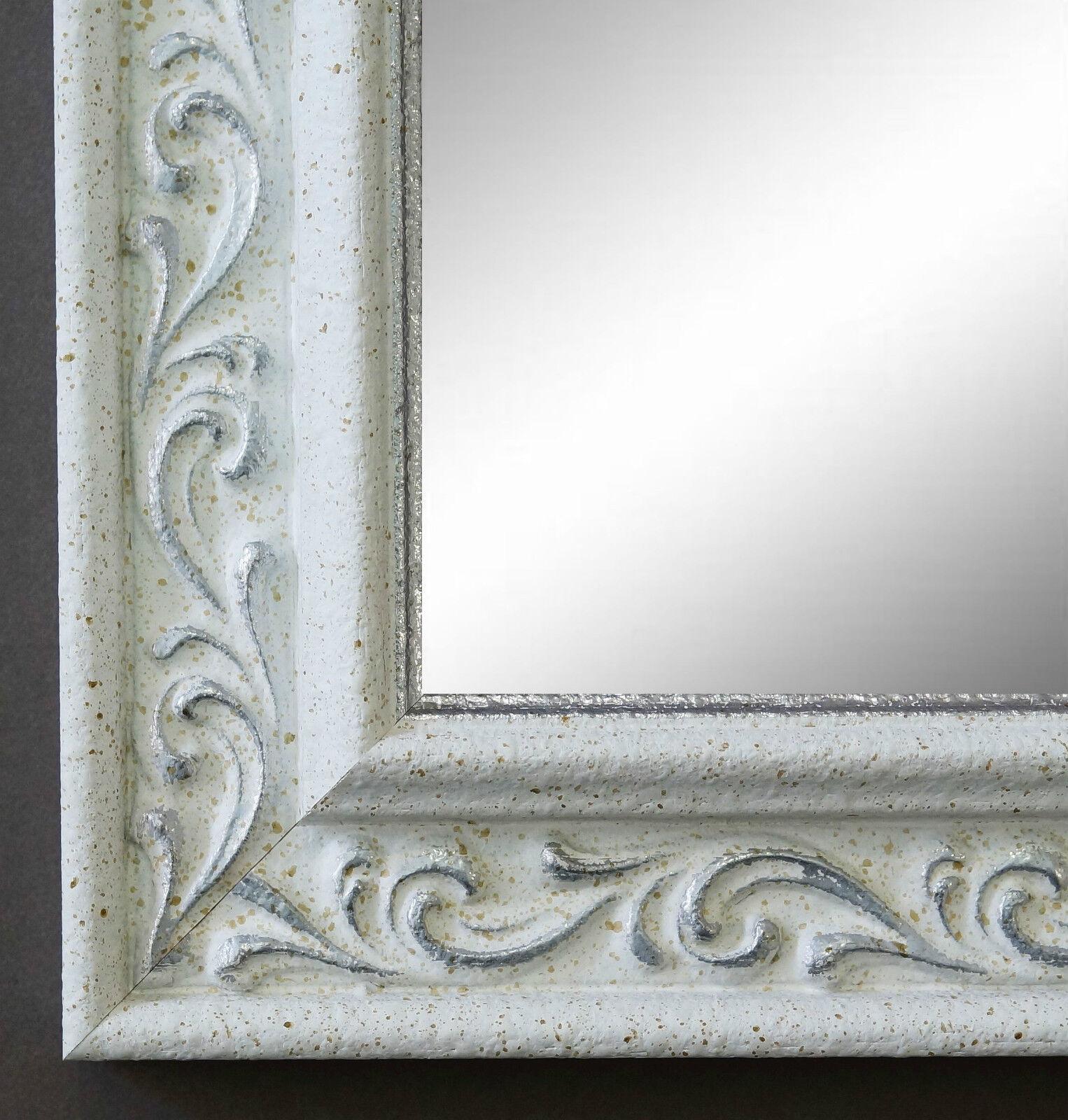 Badspiegel Weiss Silber Verona Antik Barock Vintage 4,4 - alle Größen