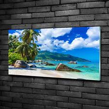 Glas-Bild Wandbilder Druck auf Glas 100x70 Deko Landschaften Seychellen Strand