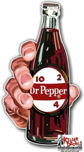 "6/"" tall DR PEPPER BOTTLE IN HAND COOLER POP soda coca cola machine decal DP109"