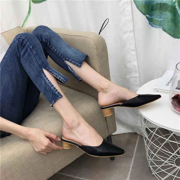 Sandale stiletto eleganti sabot 3 cm nero  ciabatte simil pelle eleganti 1063