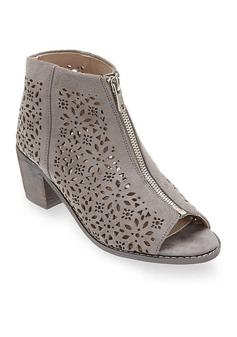COCONUTS BY MATISSE RELIC LASER CUT OUT LEATHER ZIP DETAIL GREY BOOTIES BOOTS 7M