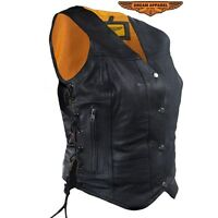 Women's Leather Motorcycle Vest With Concealed Carry Pockets & Side Laces