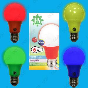 1x-6w-LED-farbig-Lampe-GLS-e27-Gluehbirne-waehlen-zwischen-rot-gelb-gruen-blau