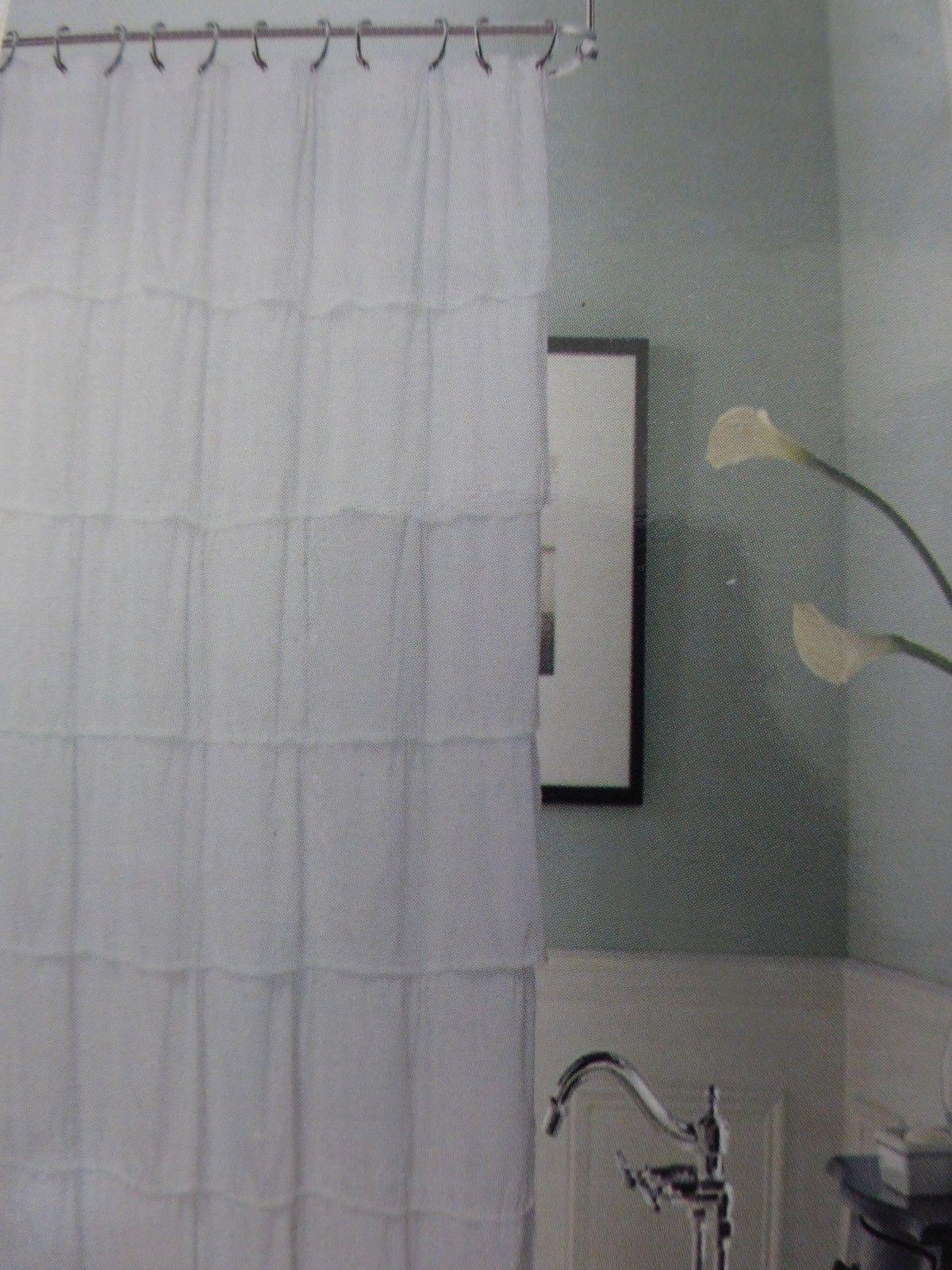 Dainty Home Luxury Collection White Malaga Fabric Shower Curtain 72 X 72 Nip