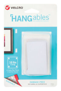 W White  4 pk L x 3//4 in Velcro  HANGables  Removable Fasteners  1-3//4 in