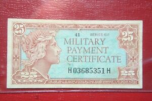 US-SERIES-611-25-CENTS-MPC-MILITARY-PAYMENT-CERTIFICATE