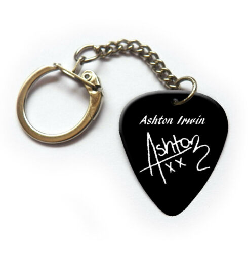 5SOS Ashton Irwin Print Signature Guitar Picks Plectrum keyring Necklace pin BW