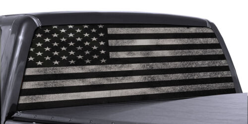 Truck Rear Window Decal Black /& White Distressed American Flag Vinyl Wrap