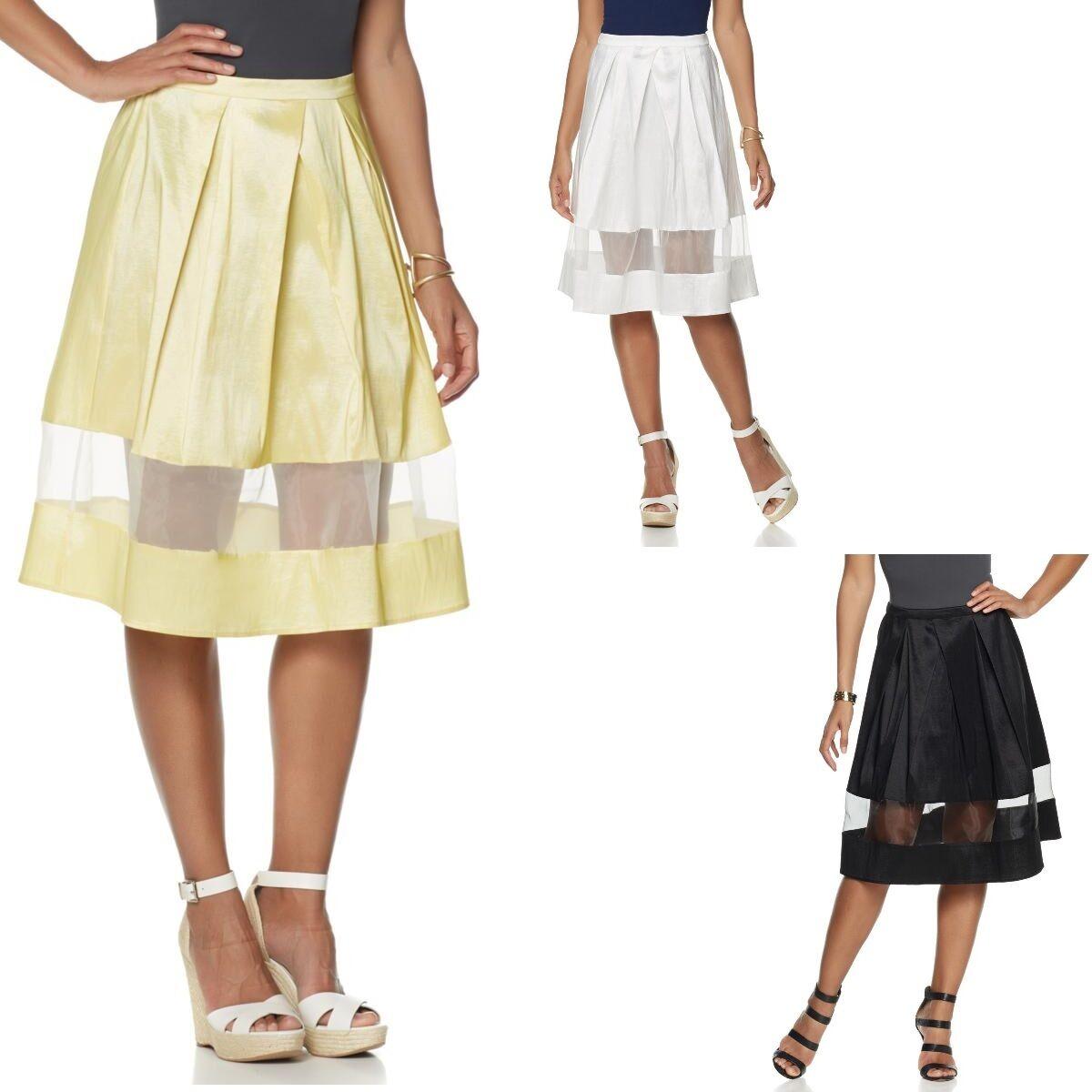 90.00 Wendy Williams Pleated Taffeta A-Line Skirt 469755J LAST ONE (1X)  59.95