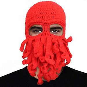 Octopus Mask Beard Hat Squid Tentacle Ski Cap Hat Knit Cosplay ... 57acfbebb2d