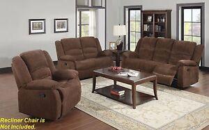 2pc Motion Sofa Set Dark Brown Sofa Couch Pub Style Back Chenille Fabric Modern