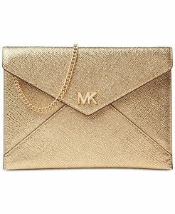 dfcecf284a14d1 MICHAEL Kors Pale Gold Leather Barbara Soft Envelope Clutch Evening ...