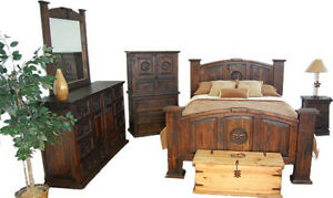 5 Pc Dark King Rustic Bedroom Set with Stars Western Real Wood Cabin Lodge