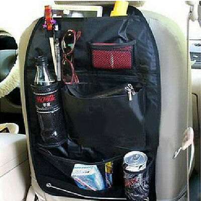 Car Seat Organizer Holder Multi-Pocket Headrest Storage Bag Hanger Black Carrier