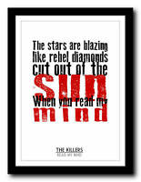 THE KILLERS - Read My Mind - song lyric poster art typography print - 4 sizes