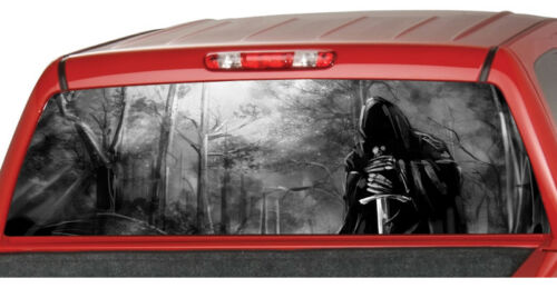 GRIM REAPER forrest B//W Rear Window Perforated Graphic Decal Tint Sticker Truck