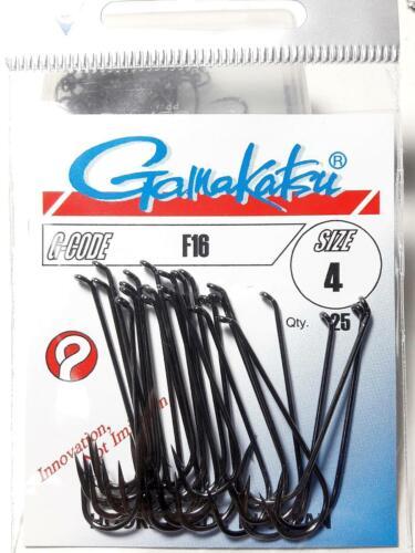 Gamakatsu f16 Taille #10 #8 #6 #4 #2 Crochets Picker 25 crochet black nickel Japon