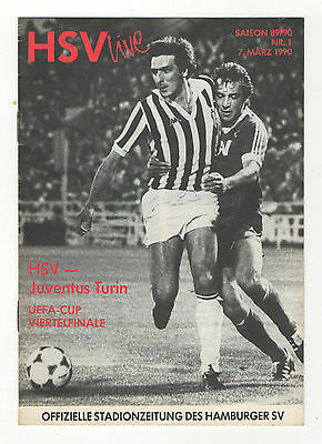 Aggressiv Orig.prg Uefa Cup 1989/90 Hamburger Sv - Juventus Turin 1/4 Finale ! Selten