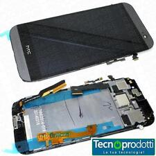 TOUCH SCREEN +LCD +FRAME X HTC ONE M8 VETRO DISPLAY ARGENTO NERO