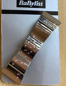 Un Argento Specchio Finitura Onda Design Metallo Clip di Capelli Barrette Con
