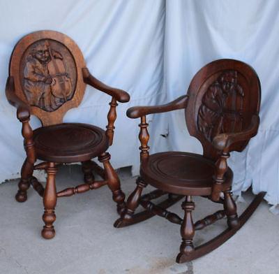 Fantastic Match Pair Antique Oak Rocker And Arm Chair Cello And Ben Franklin Carvings Ebay Inzonedesignstudio Interior Chair Design Inzonedesignstudiocom