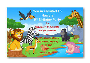 Details About 12 Personalised Jungle Safari Theme Birthday Party Invitations Invite Ref B53