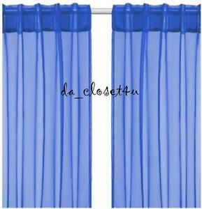 Details About Brand New Blue Curtains Ikea Sarita Sheer Hemming Strip Included 1 Pair 57x118